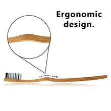 Load image into Gallery viewer, Bamboo toothbrush ergonomic design
