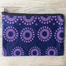 Load image into Gallery viewer, Charity zip purse purple print
