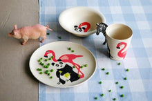 Load image into Gallery viewer, Bamboo kids dinner set flamingo