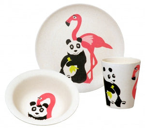 Bamboo kids dinner set flamingo
