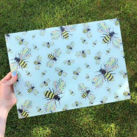 Bee friendly eco-friendly glass chopping board