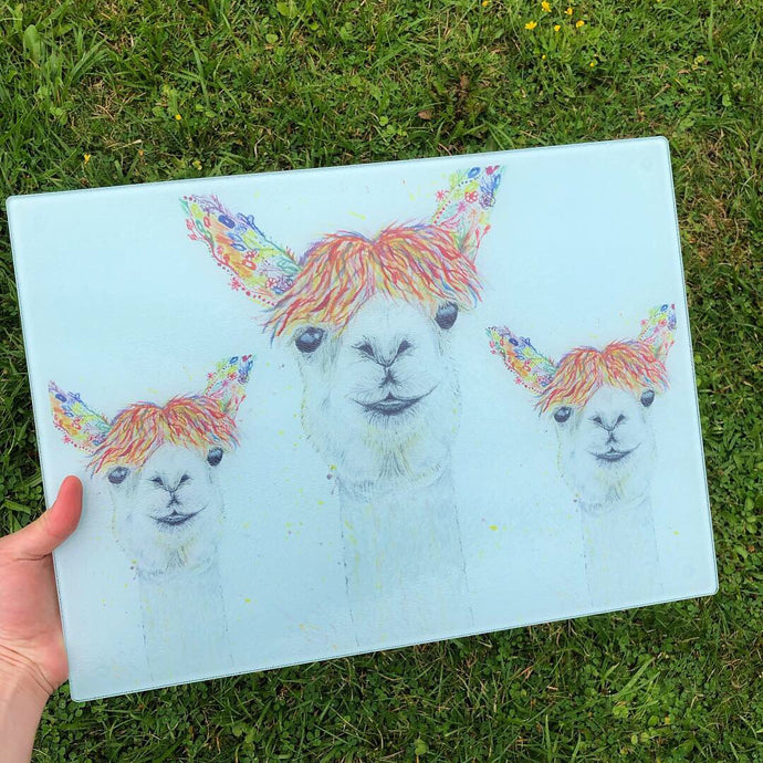 Lily the Llama eco-friendly glass chopping board