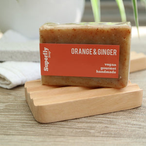 wooden soap dish with orange soap