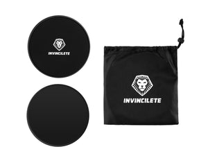 Invincilete Black Core Sliders with Mesh Bag for a Killer Ab Workout!