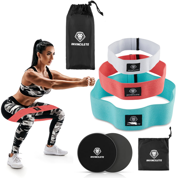 Invincilete Resistance Bands (Hip Bands | Booty Bands) – Set of 3 Non Slip Cotton Resistance Fitness Booty Bands – Activate Glutes, Thighs, Hips, Hamstrings, and More!  – Get a Bigger Butt and Toned Legs! Plus Two FREE Core Sliders!