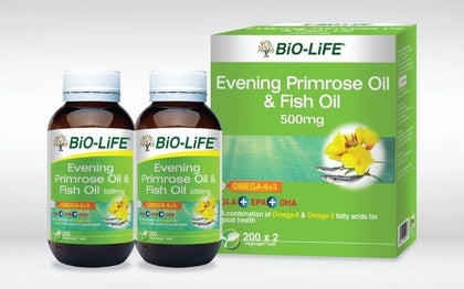 Bio-Life Evening Primrose Oil & Fish 500Mg 2 X 200S Healthcare Supplements