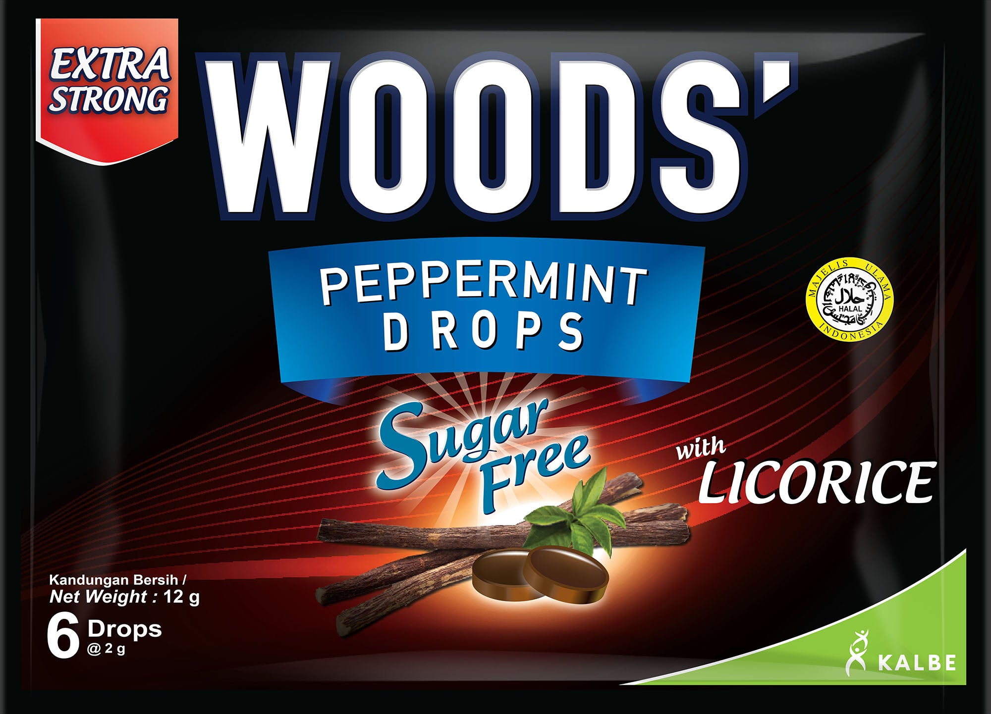 WOOD'S PEPPERMINT DROPS SUGAR FREE LICORICE 12G