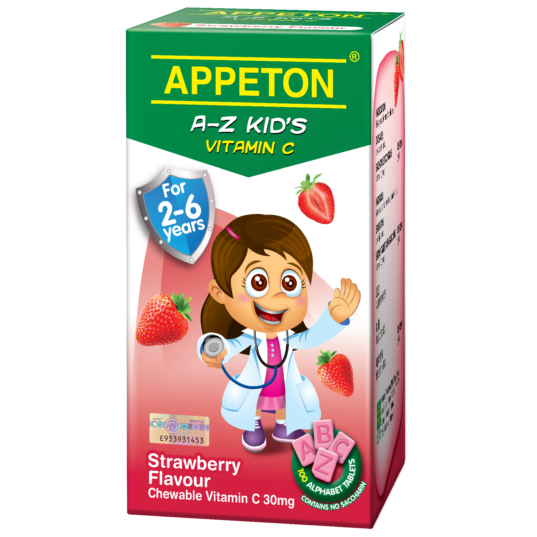 Appeton A-Z Kids Vitamin C Orange / Strawberry Blackcurrant 30Mg 100 Tablets