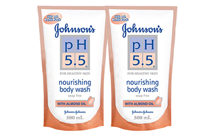 Johnsons Ph5.5 Nourishing Body Wash Almond Oil 500Ml / X 2