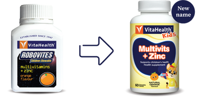 Vitahealth Robovites Multivitamins + Zinc Chewable Orange 2 X 60 Tablets