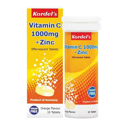 Kordels Vitamin C 1000Mg + Zinc Effervescent Orange 4 X 10 Tablets