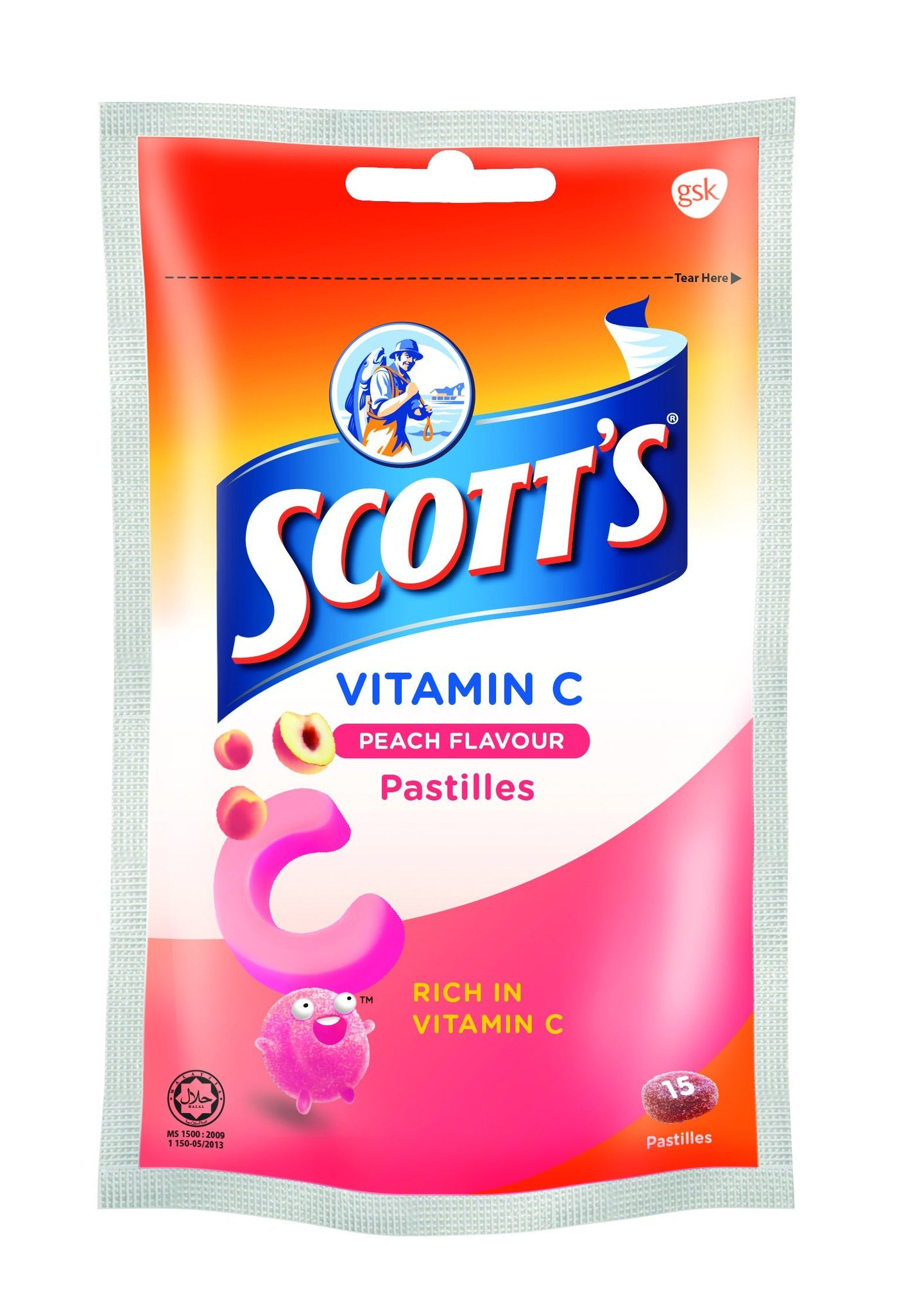 Scotts Vitamin C Peach 15S (Zipper Pack)