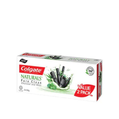 Colgate Naturals Pure Clean Charcoal & Mint Toothpaste 120G X 2