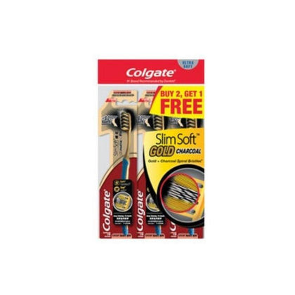 Colgate Slim Soft Charcoal Gold Toothbrush Buy 2 Free 1