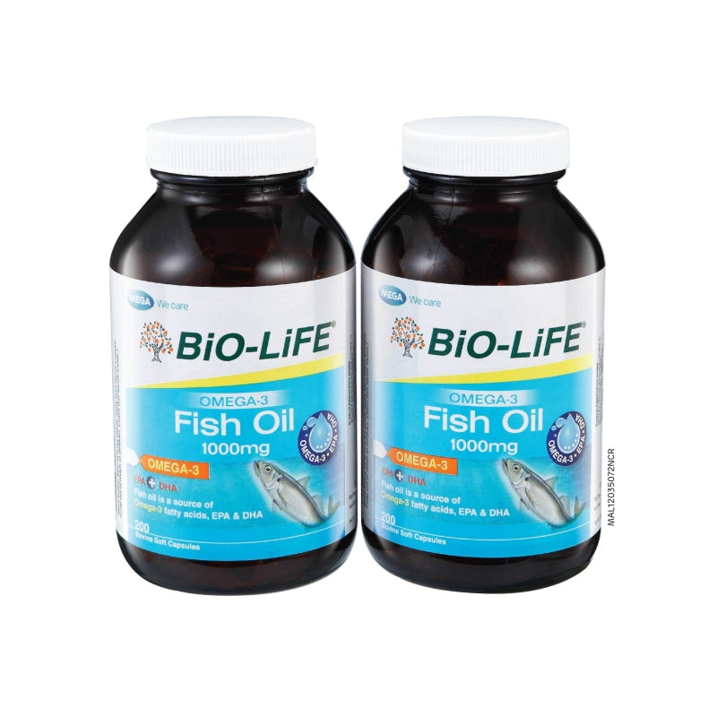 Bio-Life Omega-3 Fish Oil 1000Mg 200 X 2 Capsules (2 Pack) Healthcare & Supplements