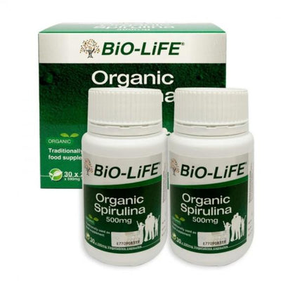 Bio-Life Organic Spirulina 500Mg 2 X 30 Vegicaps Healthcare & Supplements