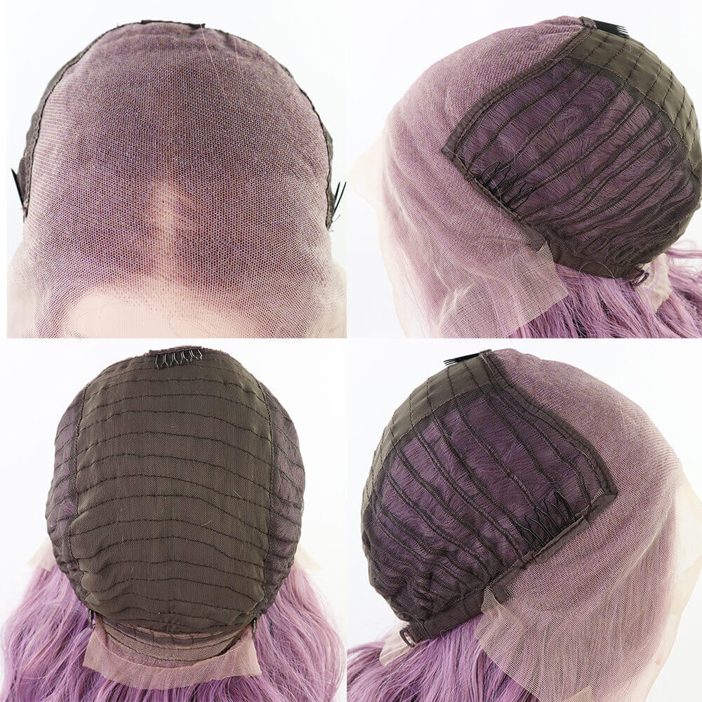 New Purple Synthetic Lace Front Wig cap