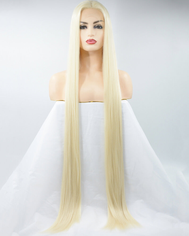 38 Inch Long Blonde Synthetic Lace Front Wig WW173