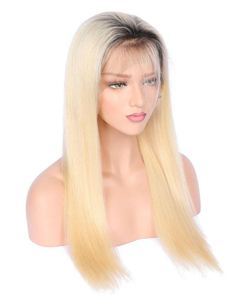 Silky Straight Blond Human Hair 360 Lace Wigs HT022