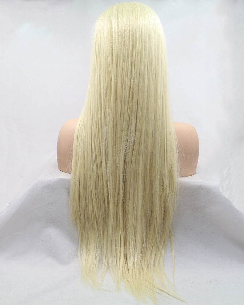 613 Blonde Straight Synthetic Lace Front Wig With Bangs WT140