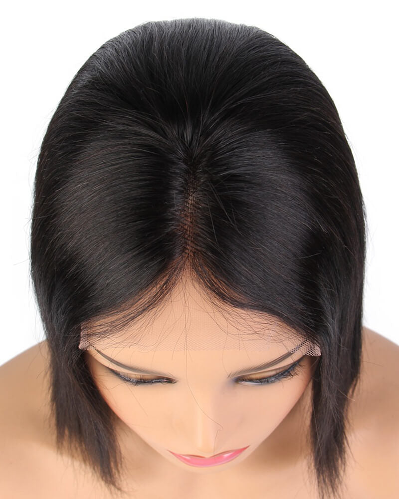 Human Hair Black Short Bob Lace Wig HT004