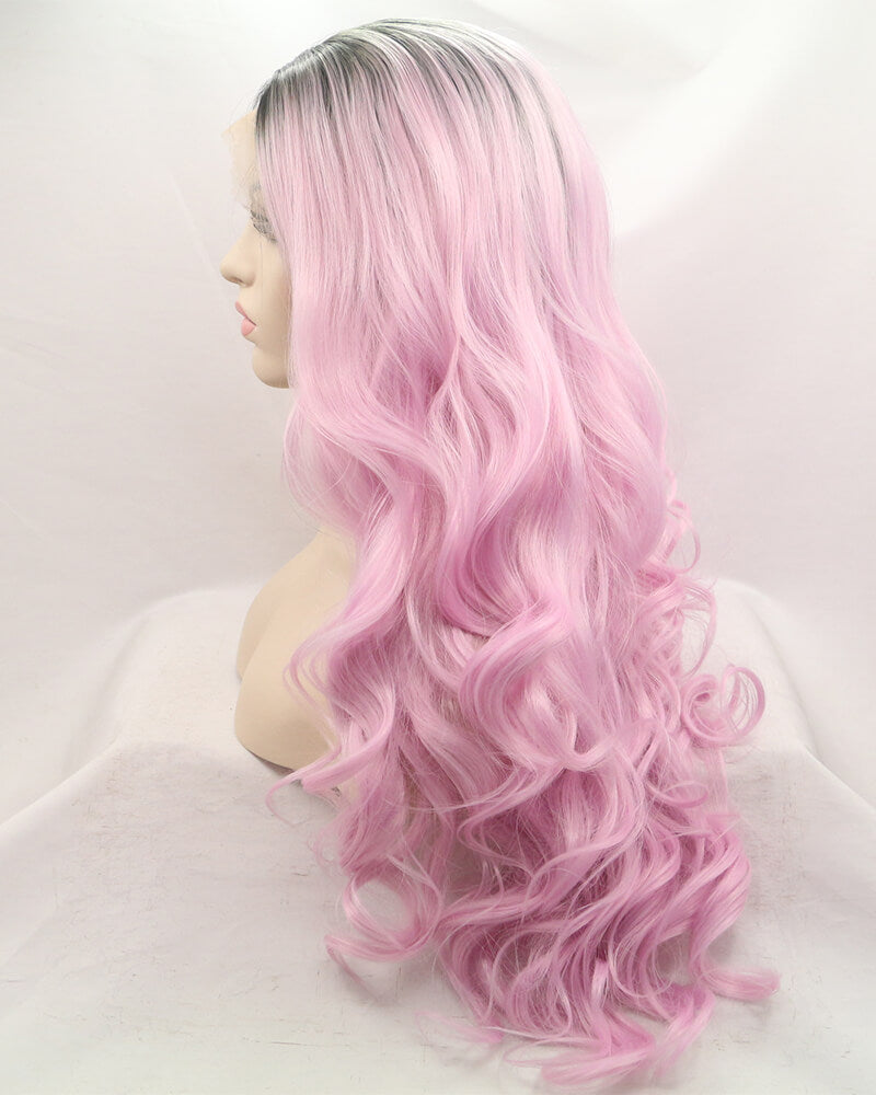 Ombre Pink Wavy Synthetic Lace Front Wigs