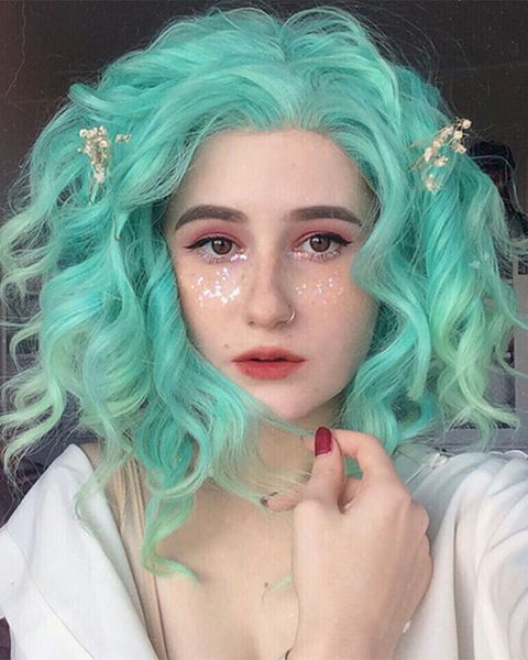 Mint Green Synthetic Lace Front Wig WW022