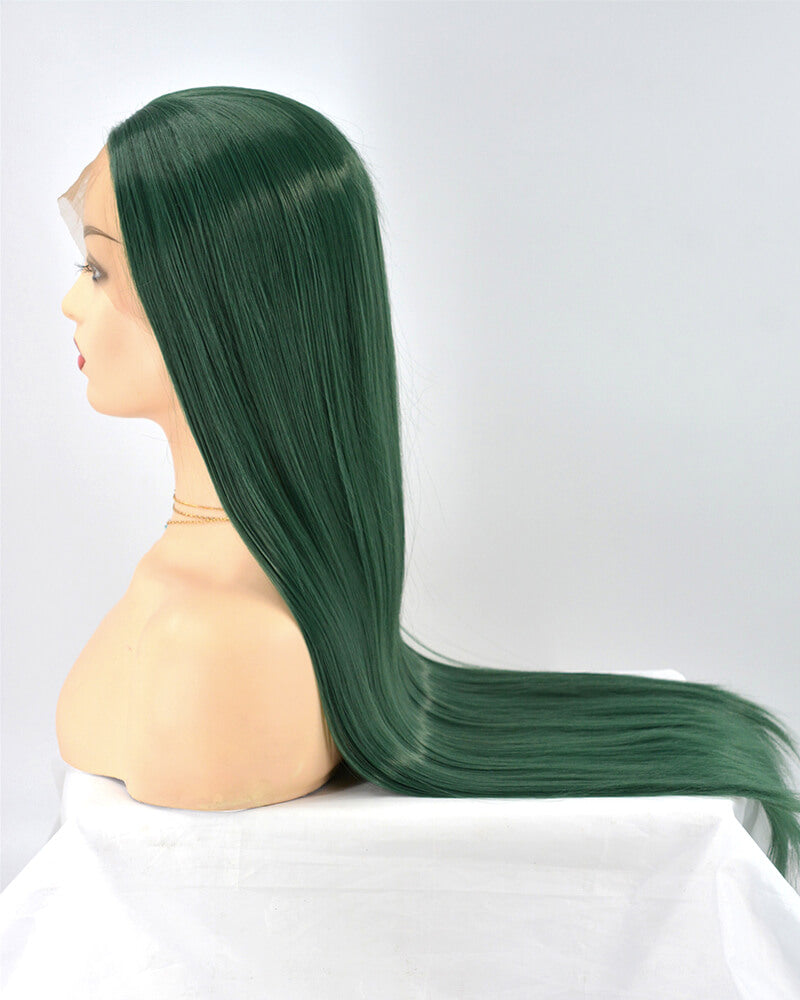 Straight Green Synthetic Lace Front Wig WW213