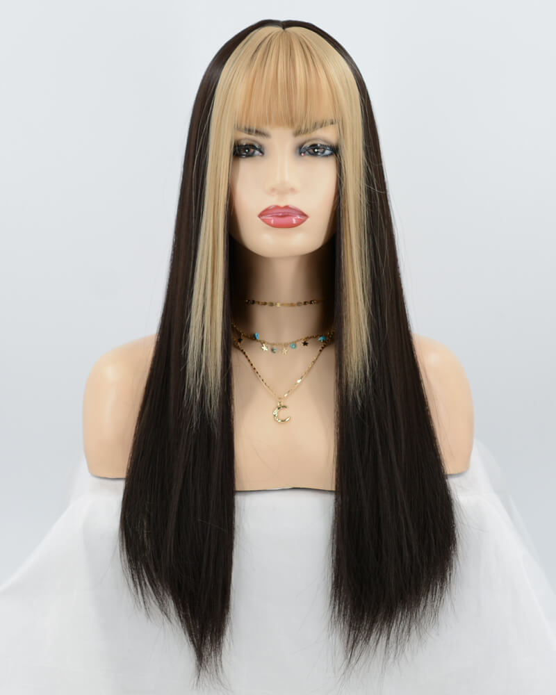 Brown Mixed Blonde Synthetic Wig HW081