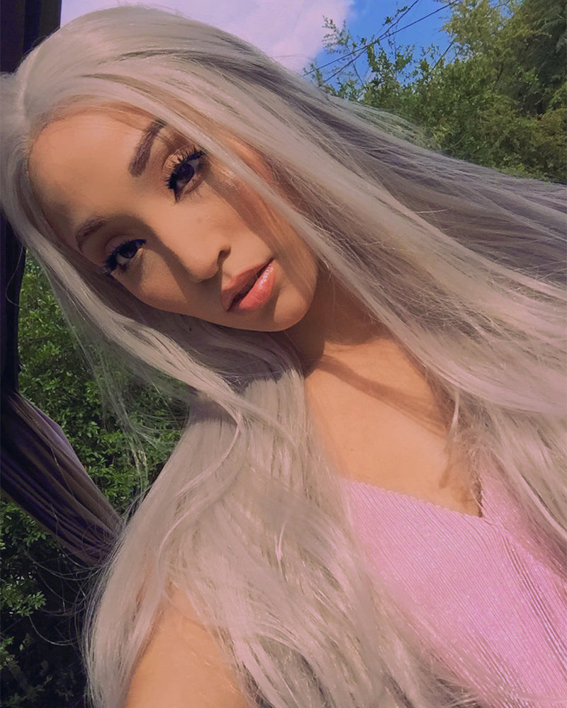 Long Straight Gray Synthetic Lace Front Wigs WT005