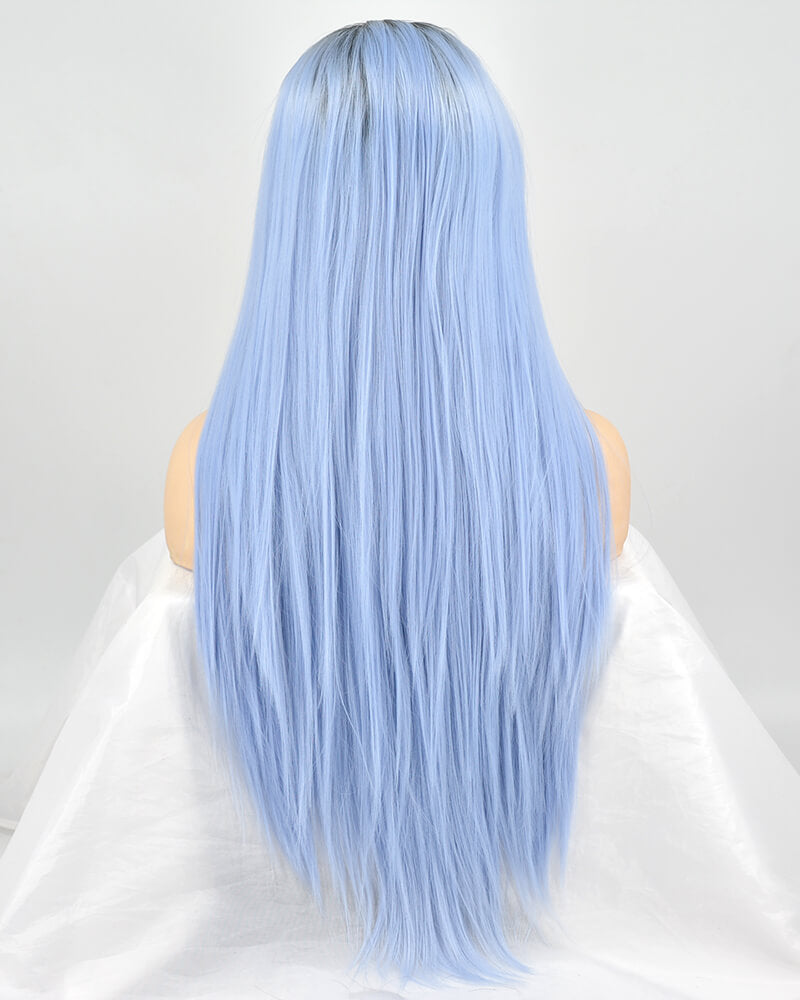 Blue Straight Synthetic Lace Front Wig WW031