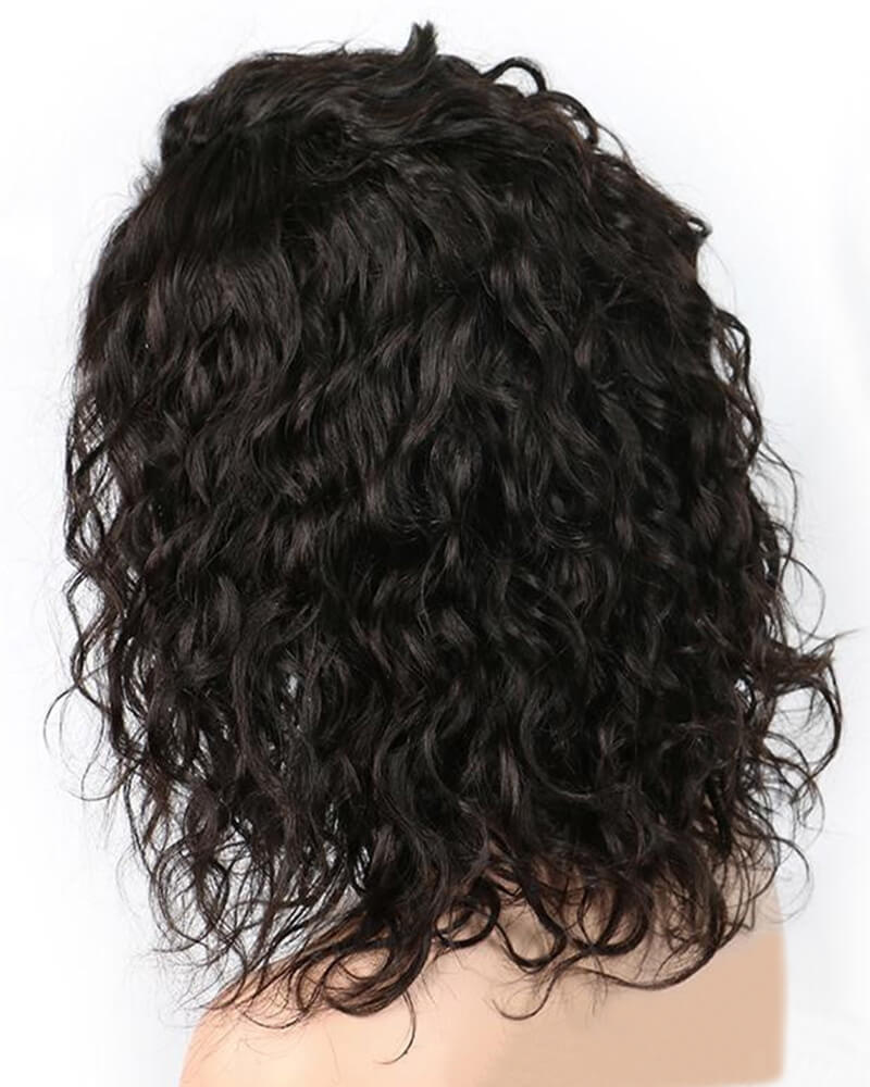 Black Curly Human Hair Wig HT017