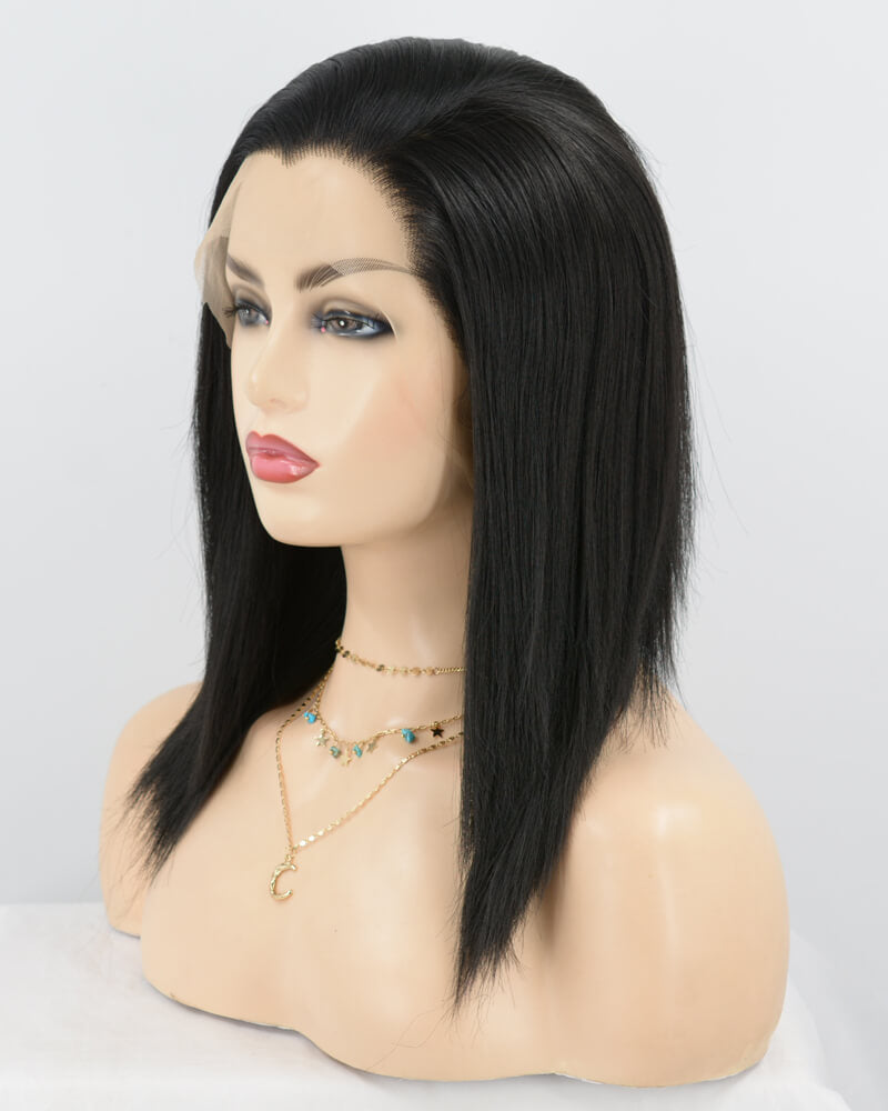 Straight Black Long Synthetic Lace Front Wig WT001