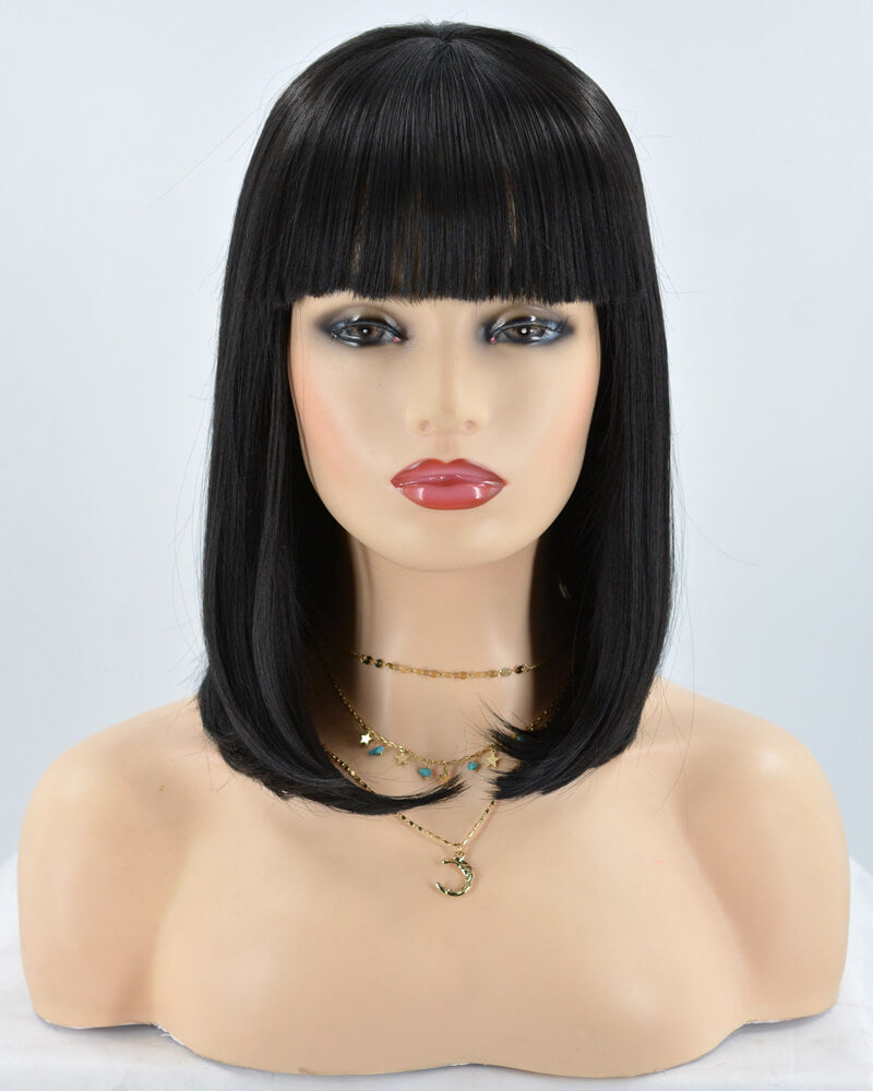 Short Black Synthetic Lace Front Wig With Bangs WT067