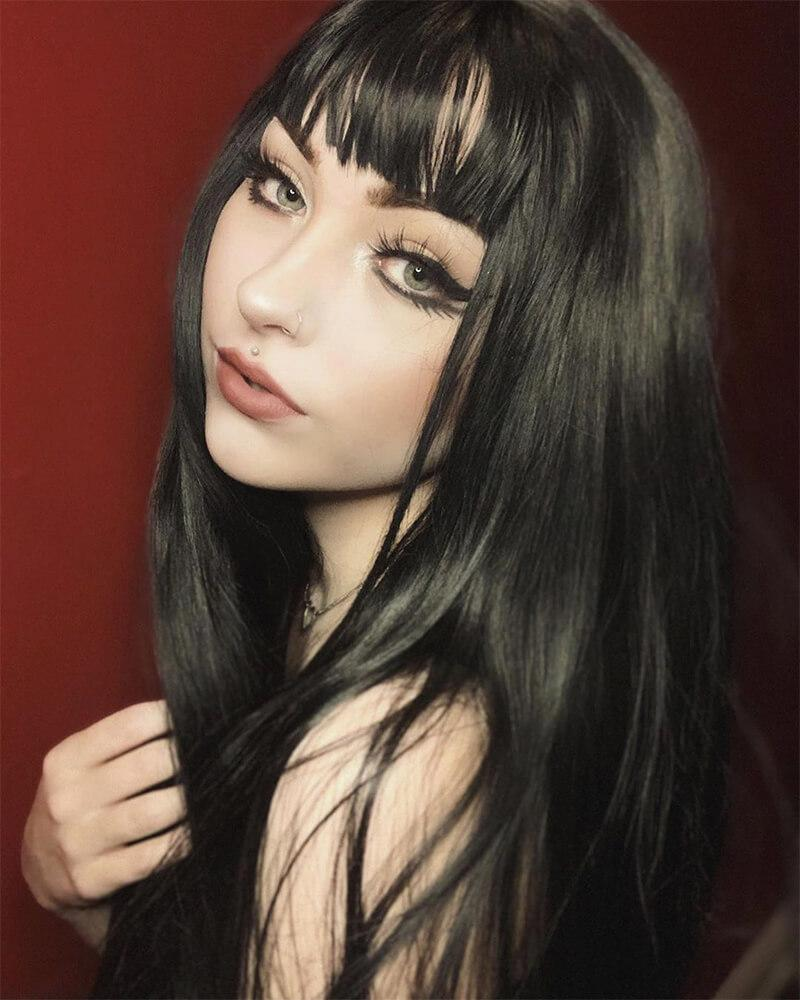 Synthetic Black Lace Front Wig With Bangs WT046