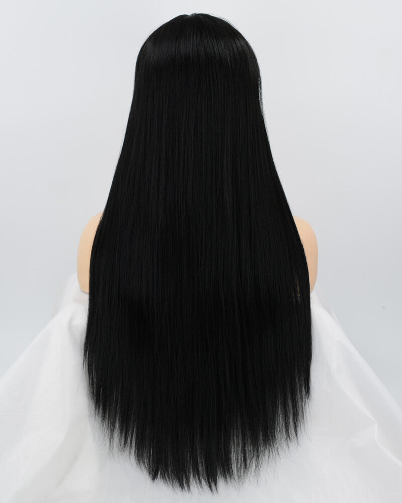 Yaki Straight Black Wefted Wig With Bangs HW054