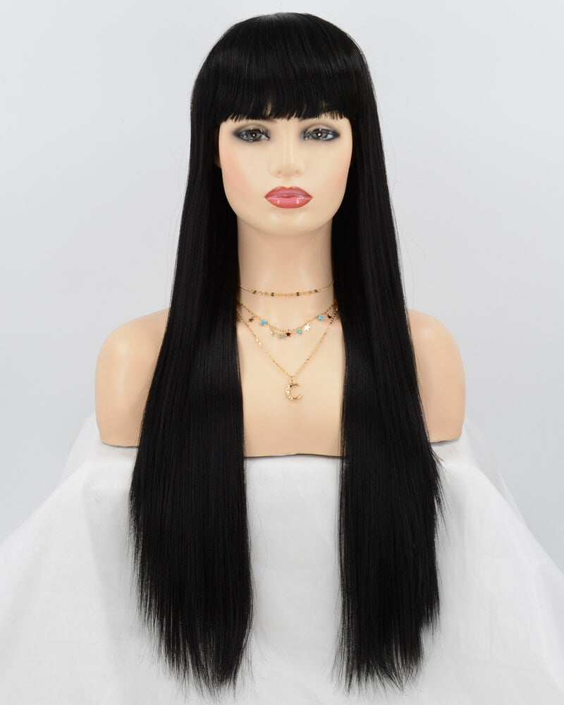 Black Yaki Straight Synthetic Lace Front Wig WT157