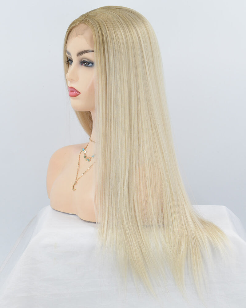 Ash Blonde Wavy Synthetic Lace Front Wig WW054