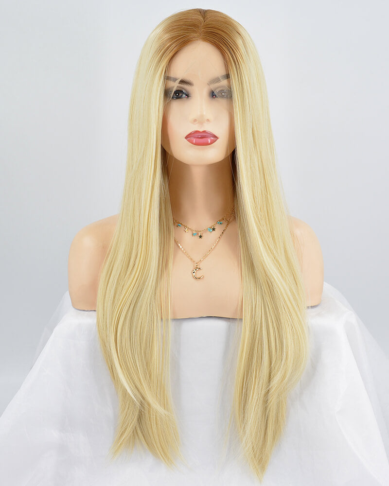 Straight Blonde Synthetic Lace Front Wig WW069