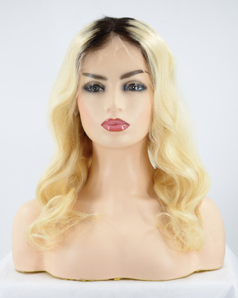 Ombre Blonde Way Human Hair Wig HT030