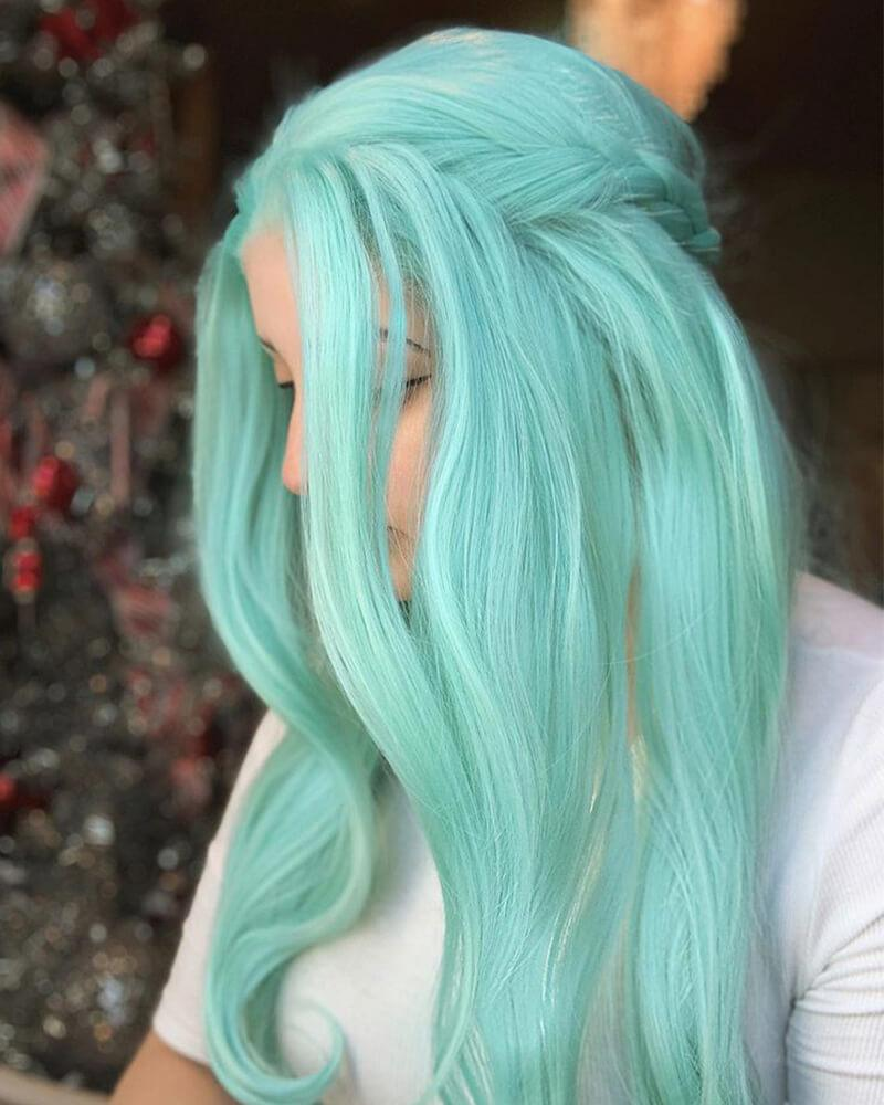 Long Green Blue Synthetic Lace Front Wig WT020