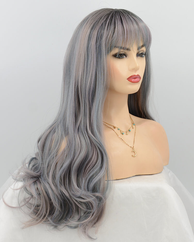 Wavy Blue Synthetic Lace Front Wig WT050