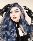 Long Blue Synthetic lace Front Wig WT049