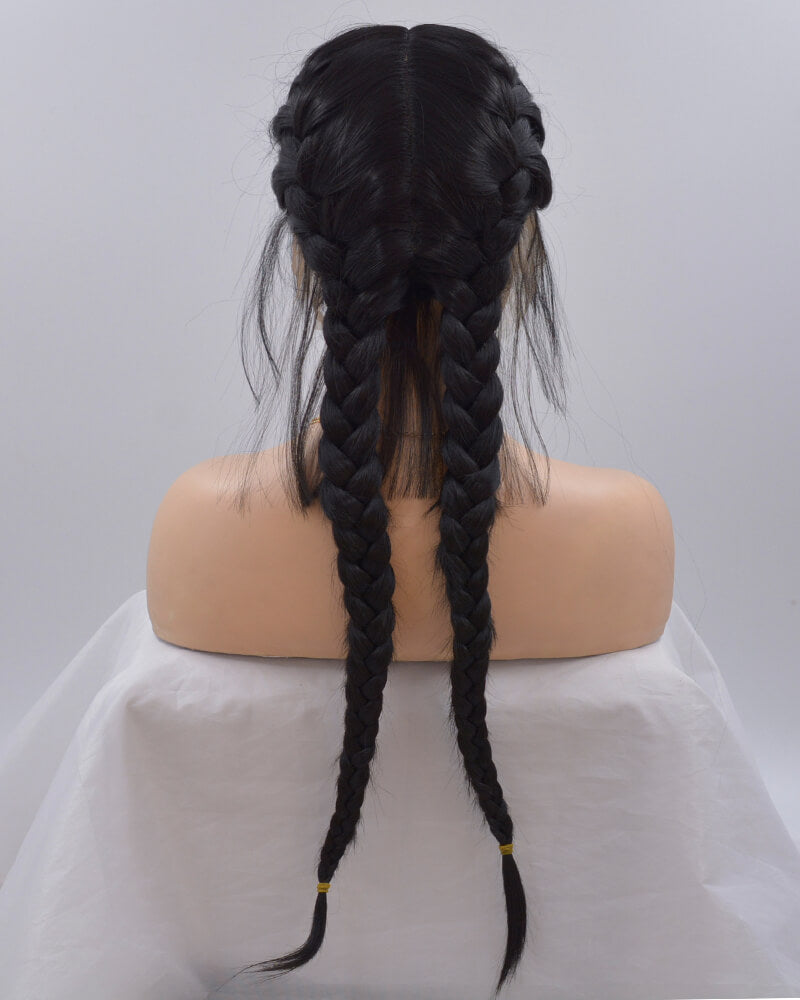Black Braid Synthetic Lace Front Wig WT069
