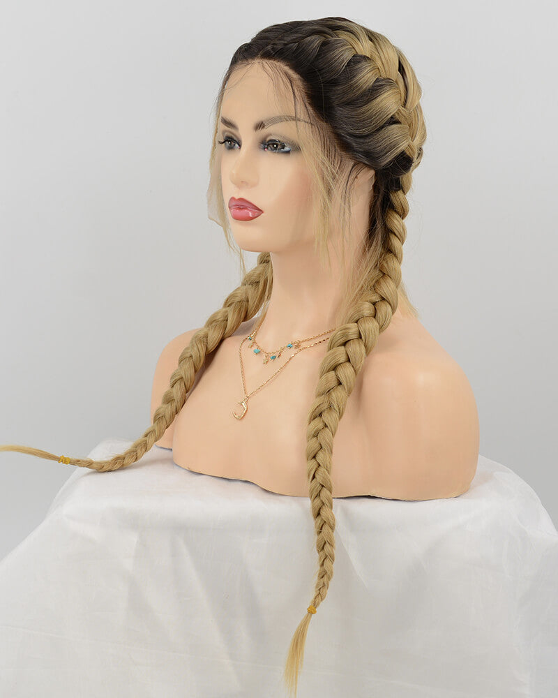 Blonde Braided Synthetic Lace Front Wig WT108