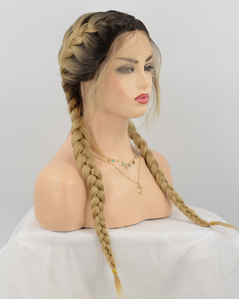 Braid Blonde Synthetic Lace Front Wig With Baby Hair WT060