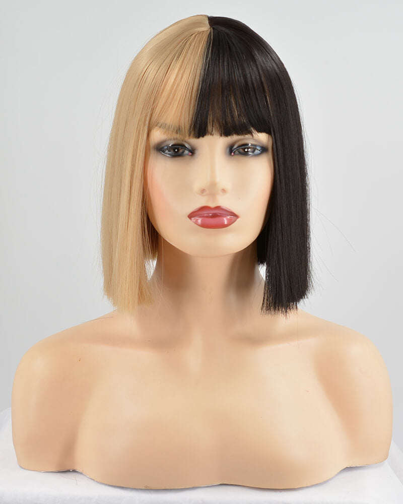 Half Black Half Brown Hard Front Wigs HW057