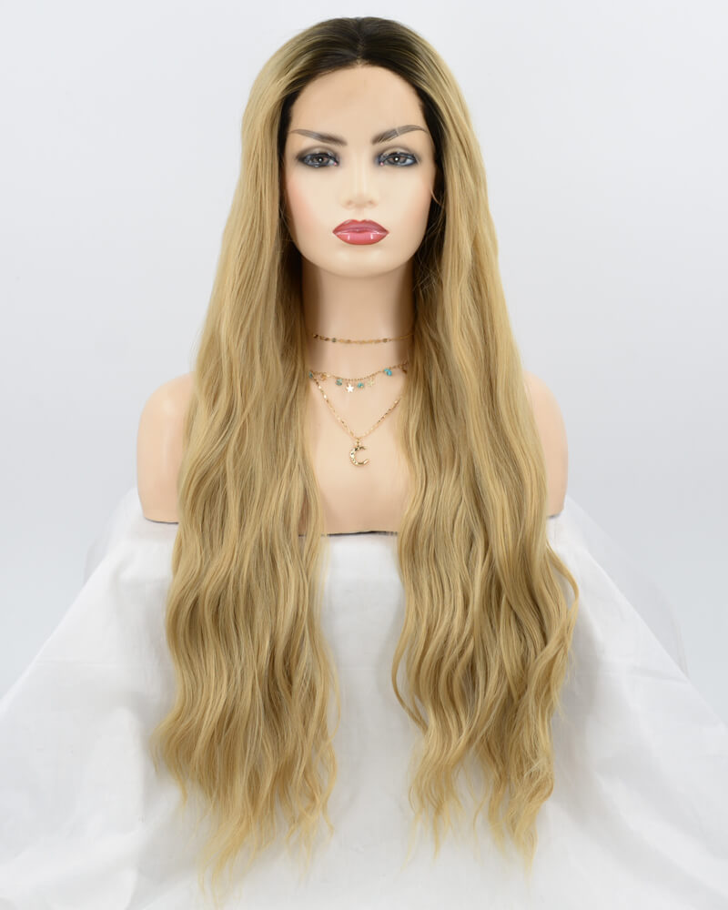 Brown Wavy Synthetic Lace Front Wig WW076