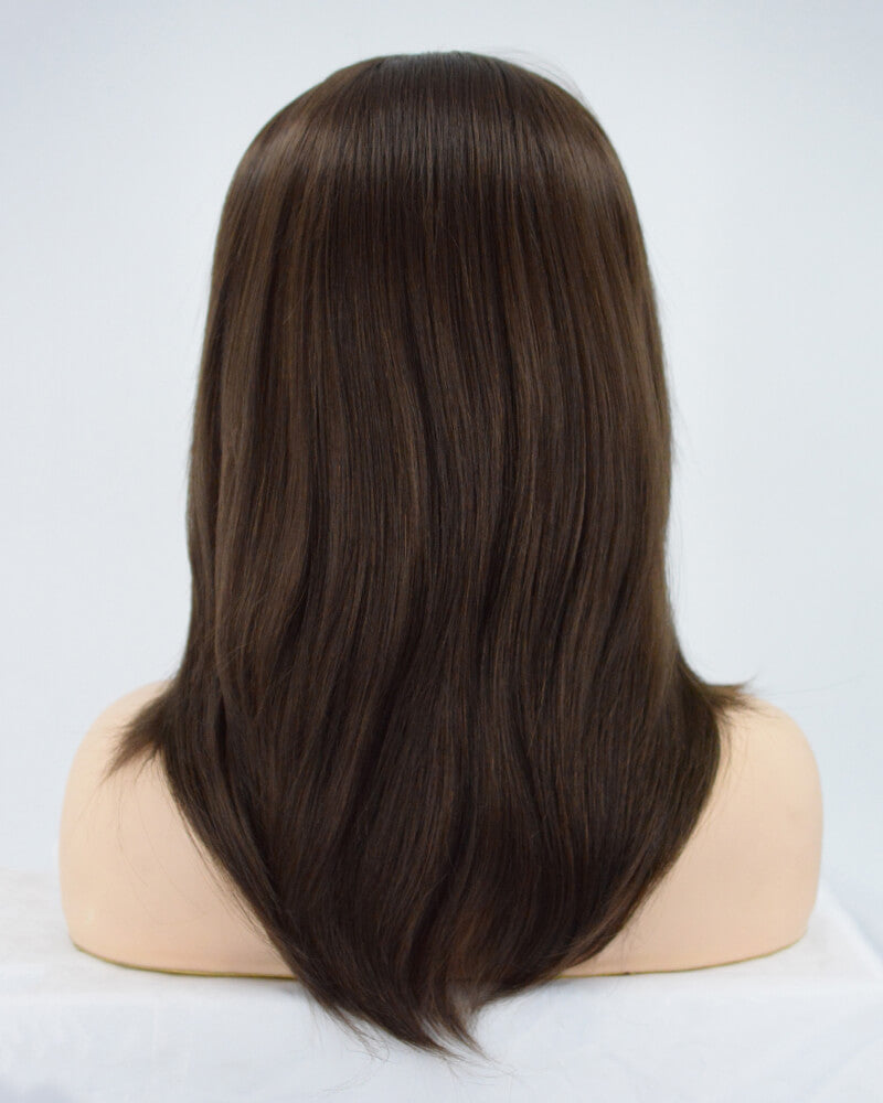 Brown Medium Length Synthetic Lace Front Wig WW187