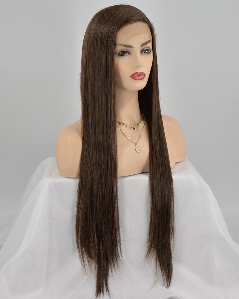 Mixed Brown Synthetic Lace Front Wig WW238